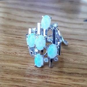 Vintage 14K Opal & Diamond Ring -